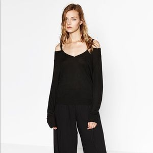 Zara black cut out shoulder v neck knit sweater
